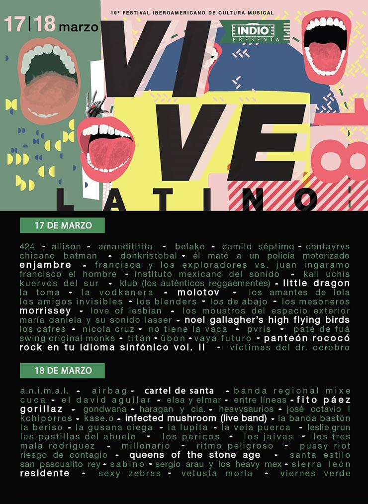 Cartel Vive Latino 2018 por día.